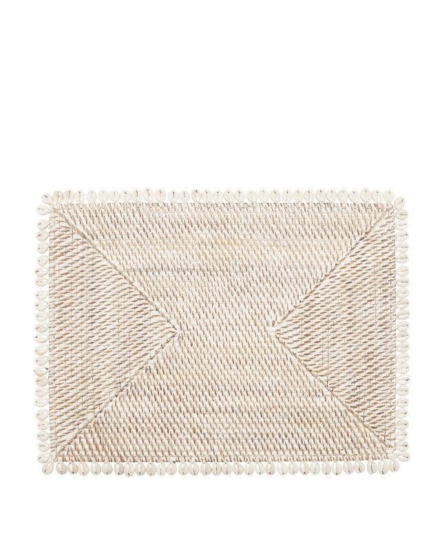 Smoked Rattan Placemat w/ Shells - Rectangle