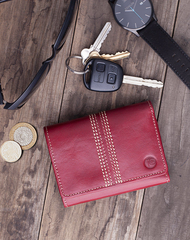 "Trifold Note & Coin Wallet ""The Keeper"" (Cherry)"