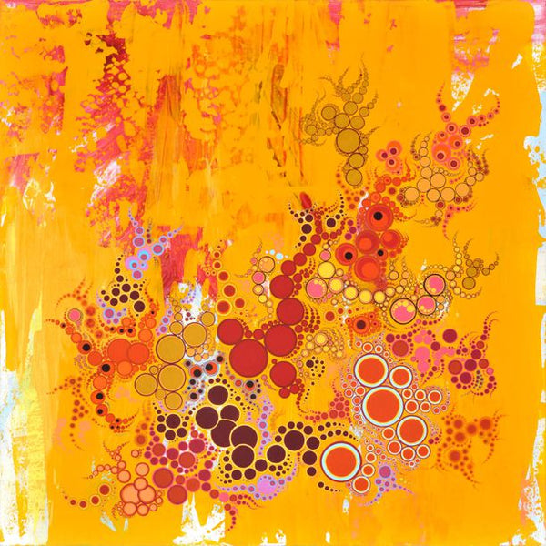 Summer of the Red Sun (AKA the Jimmy Choo painting) Amelia Caruso Original work on White Birch panel