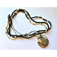 Beautiful Beaded Necklace with Stunning Polished Stone Pendant Great Gift Item!