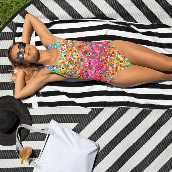 Effervescence Rainbow by Amelia Caruso One-Piece Swimsuit