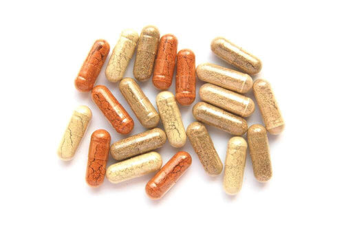 a small batch of empty capsules with pre-filled herbal supplements in them