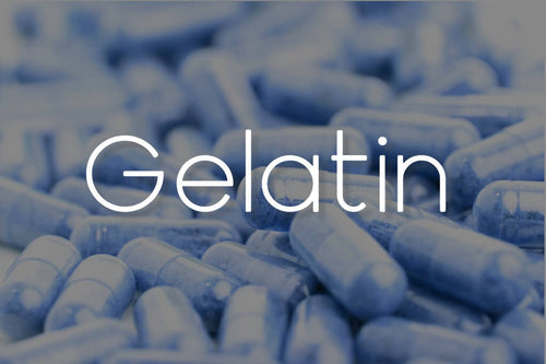 an image of some blue empty capsules with an overlay of the word gelatin