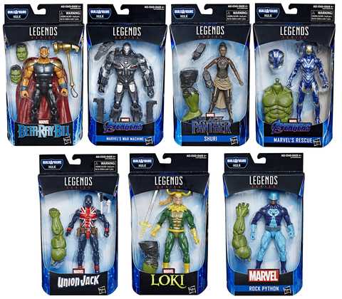 Avengers Endgame Marvel Legends Hulk Build-A-Figure Set of 7