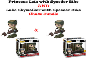 Princess Leia & Luke Skywalker Speeder Bike Funko Pop! Star Wars Chase Bundle