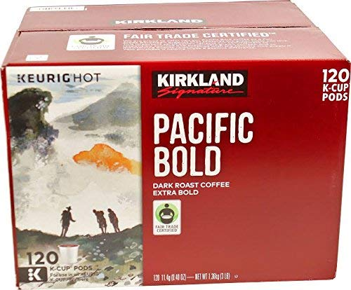 Keurig K-Cup Pods Kirkland Signature Pacific Bold Dark Roast Coffee 120 Count