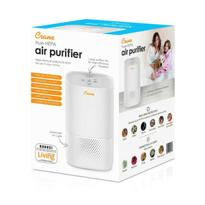 Crane Air Purifier with True HEPA Filter Germicidal UV Light 3 Speeds White  new