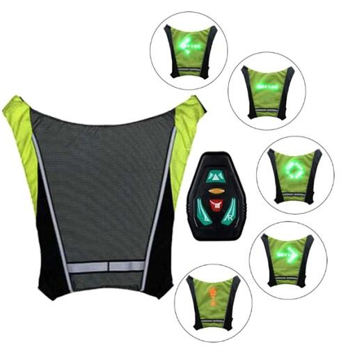 Bike Safety LED Signal Vest Light Indicator All Weather Wireless Signalling Controls Reflective Waterproof USB Rechargeable - New