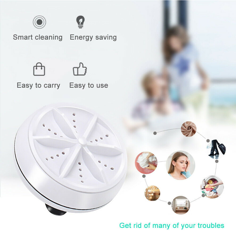 Portable Ultrasonic USB Powered Washer Turbine Rotor for Clothes Dishes Shoes For Travel Home Business