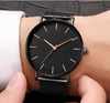 Minimalist Men's Quartz Watch Black with Stainless Steel Band Simple Sleek Elegant