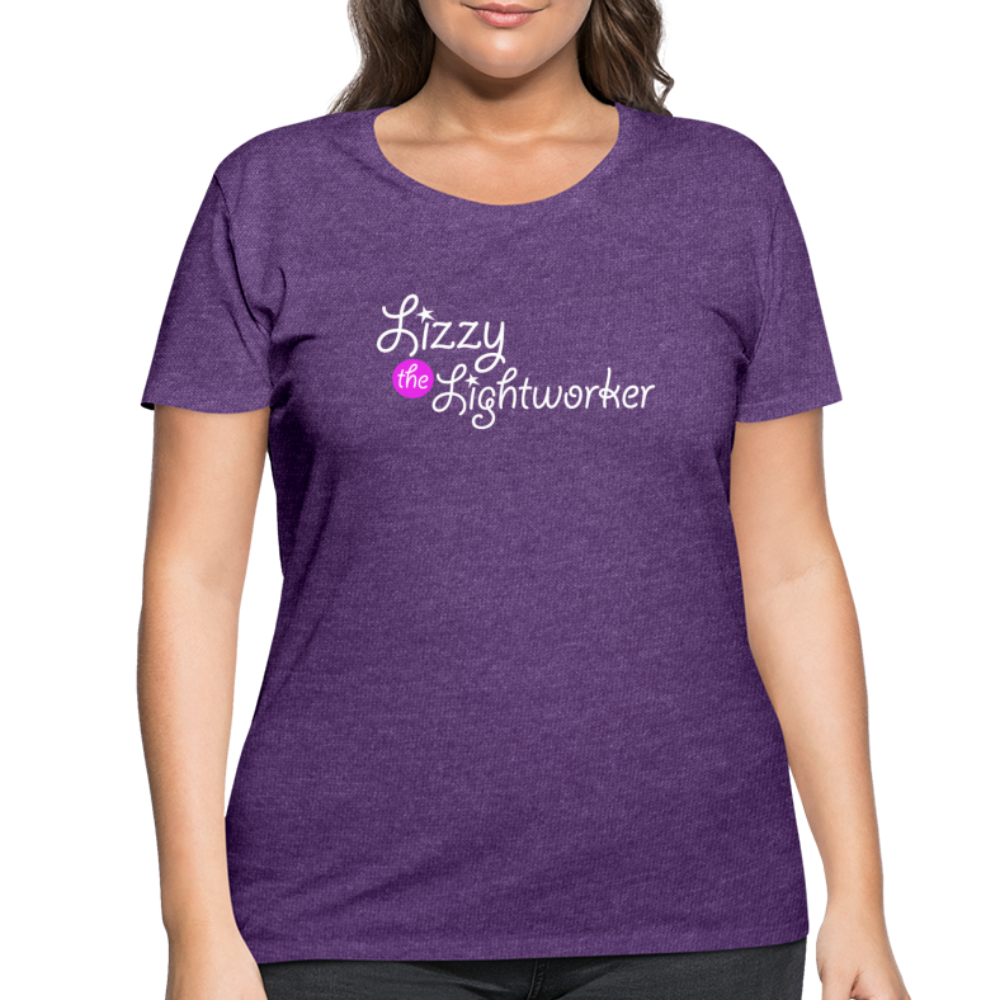 Lizzy The Lightworker White Print Women's Curvy T-Shirt - heather purple