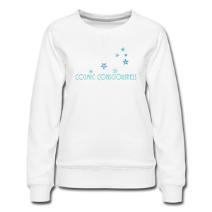Cosmic Consciousness Color Print Women's Premium Sweatshirt - white