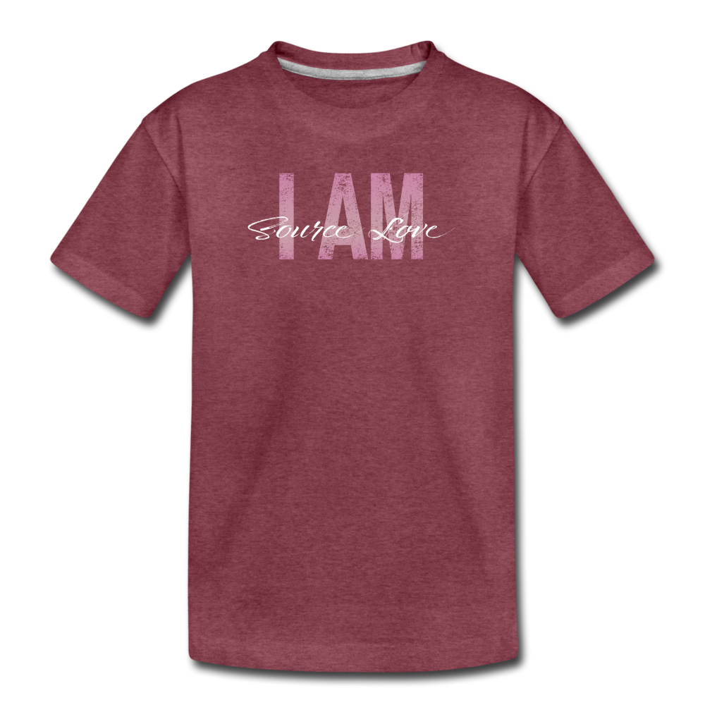 I AM Source Love Vintage Kids' Premium T-Shirt - heather burgundy