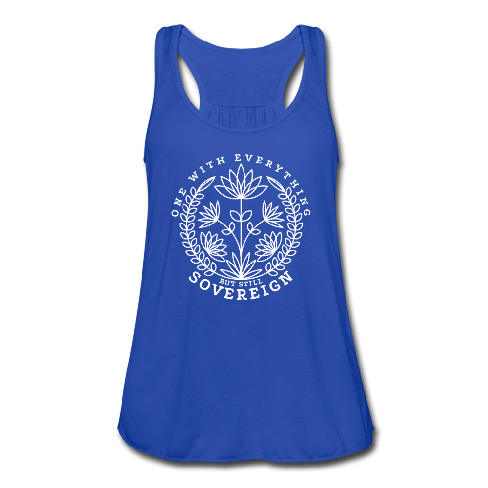 One With Everything White Print Women's Flowy Tank Top by Bella - royal blue