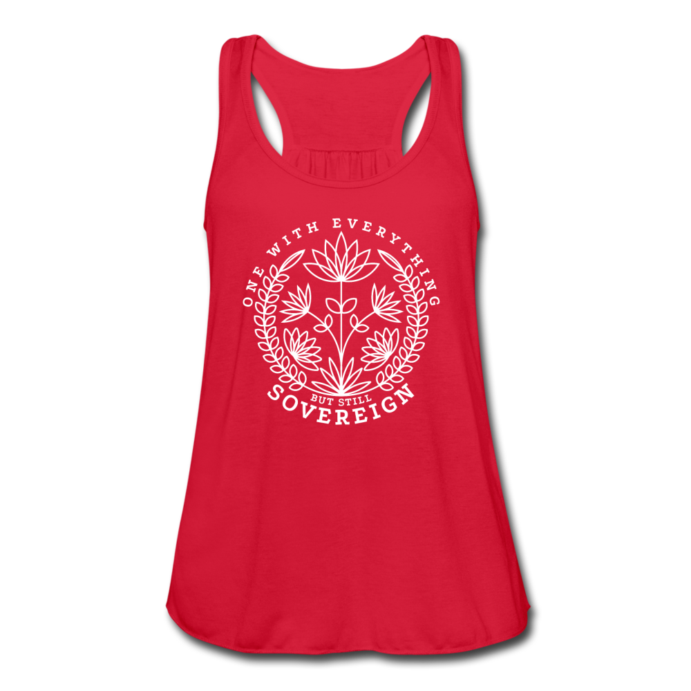 One With Everything White Print Women's Flowy Tank Top by Bella - red