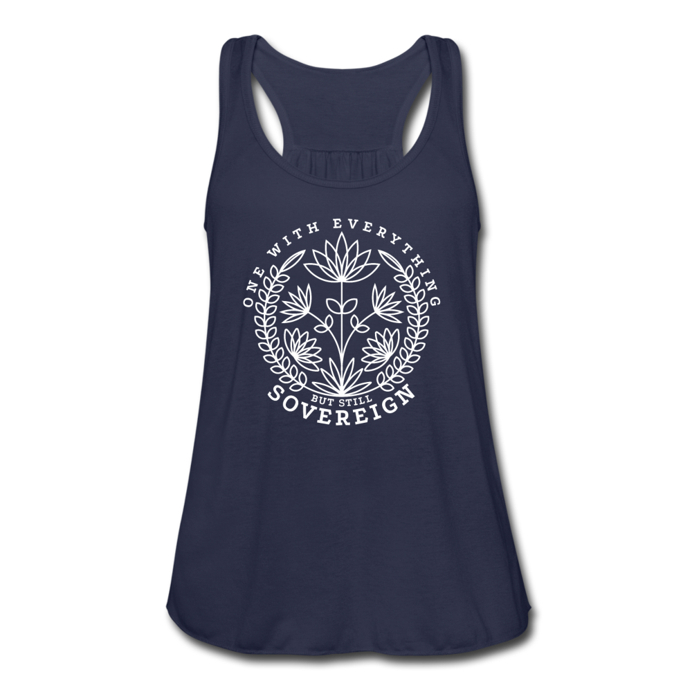 One With Everything White Print Women's Flowy Tank Top by Bella - navy