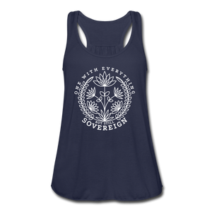 Open image in slideshow, One With Everything White Print Women's Flowy Tank Top by Bella - navy