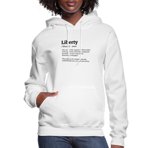 Liberty Defined Black Print Women's Hoodie - white