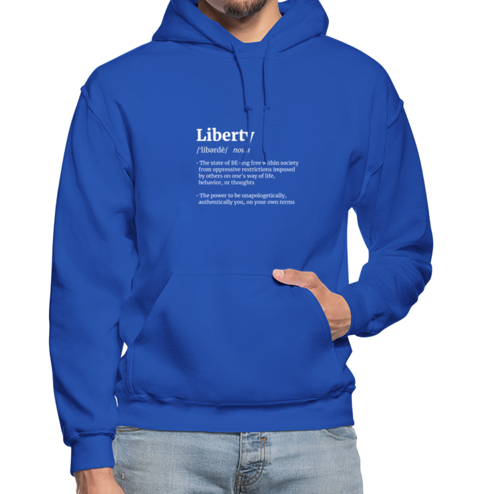 Liberty Defined White Print Gildan Heavy Blend Adult Hoodie - royal blue