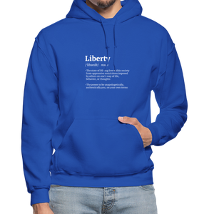 Open image in slideshow, Liberty Defined White Print Gildan Heavy Blend Adult Hoodie - royal blue