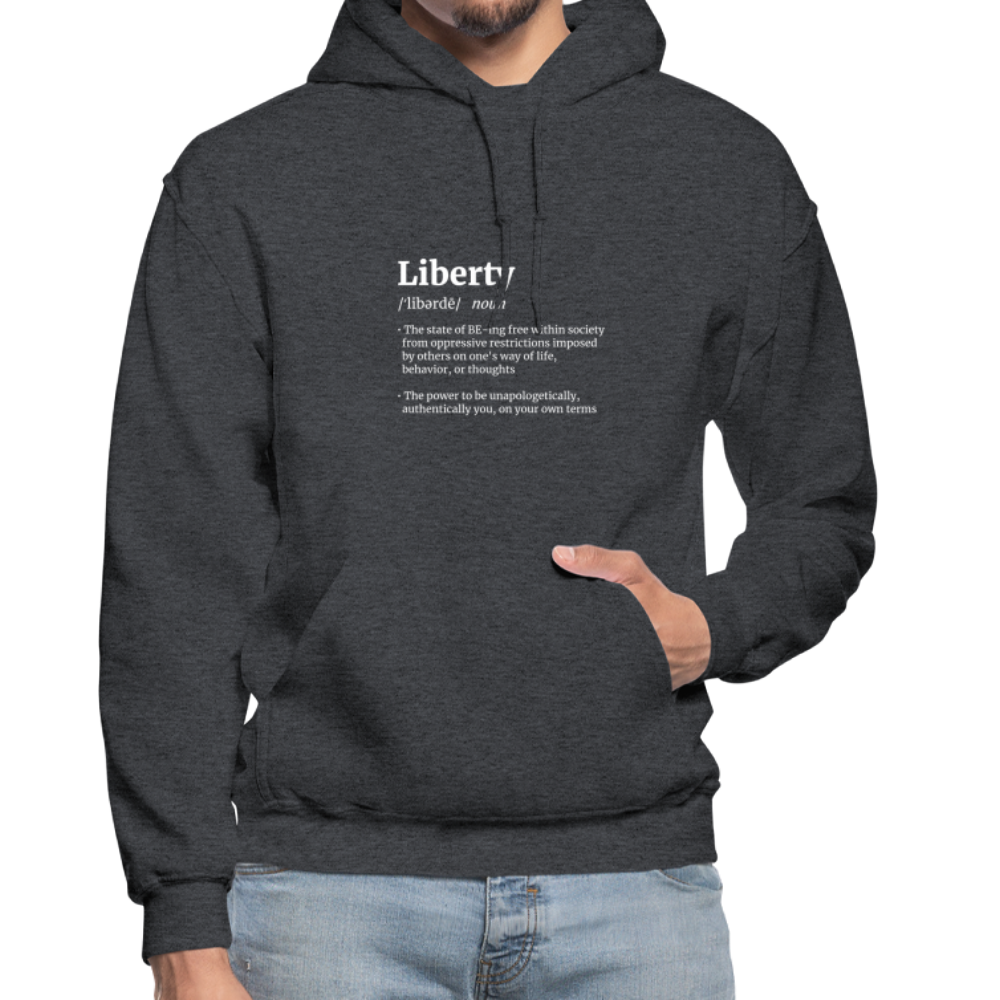 Liberty Defined White Print Gildan Heavy Blend Adult Hoodie - charcoal gray