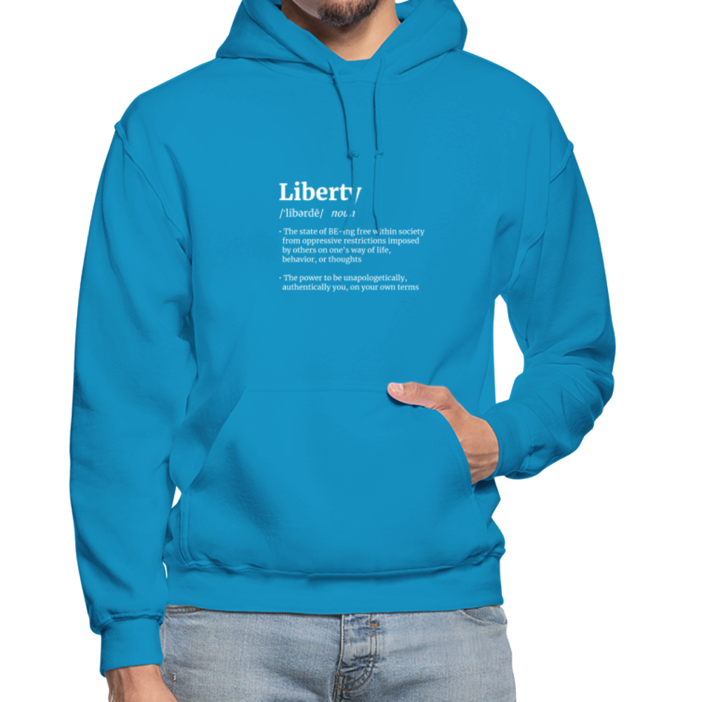 Liberty Defined White Print Gildan Heavy Blend Adult Hoodie - turquoise