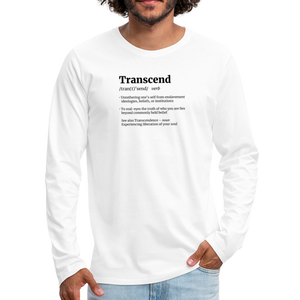 Open image in slideshow, Transcend Defined Black Print Men's Premium Long Sleeve T-Shirt - white