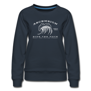Open image in slideshow, Ascension - Ride The Wave White Print Women's Premium Sweatshirt - navy
