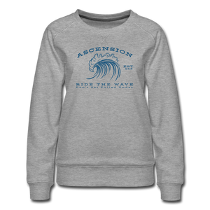 Ascension - Ride The Wave Blue Print Women's Premium Sweatshirt - heather gray
