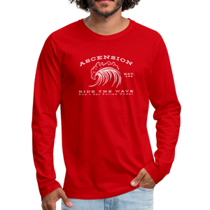 Ascension - Ride The Wave White Print Men's Premium Long Sleeve T-Shirt - red