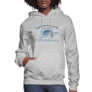 Ascension - Ride The Wave Blue Print Women's Hoodie - heather gray