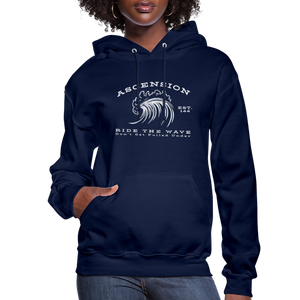 Ascension - Ride The Wave White Print Women's Hoodie - navy