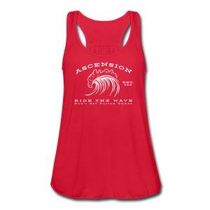 Ascension - Ride The Wave White Print Women's Flowy Tank Top by Bella - red