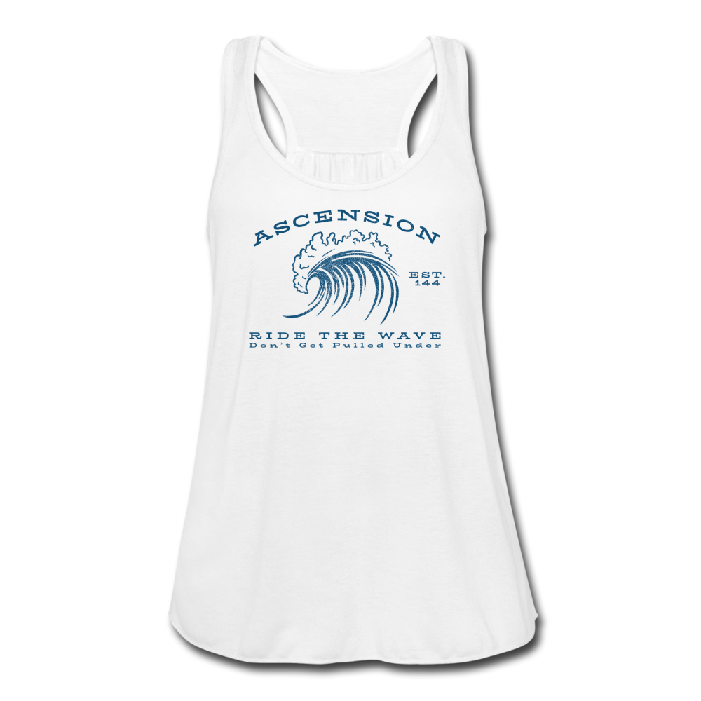 Ascension - Ride The Wave Blue Print Women's Flowy Tank Top by Bella - white