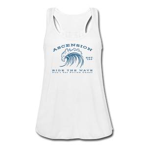 Open image in slideshow, Ascension - Ride The Wave Blue Print Women's Flowy Tank Top by Bella - white