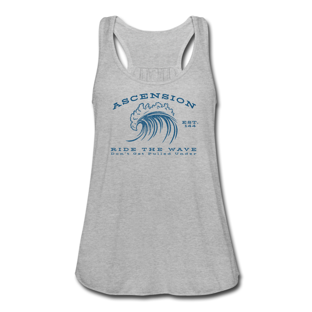 Ascension - Ride The Wave Blue Print Women's Flowy Tank Top by Bella - heather gray