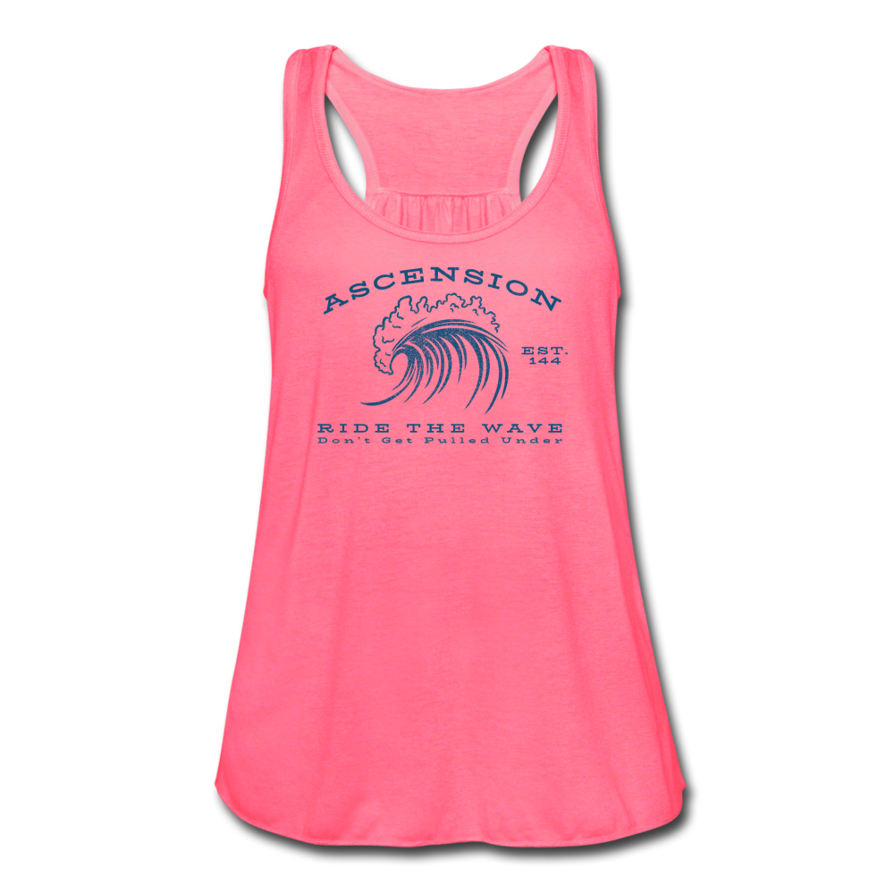 Ascension - Ride The Wave Blue Print Women's Flowy Tank Top by Bella - neon pink