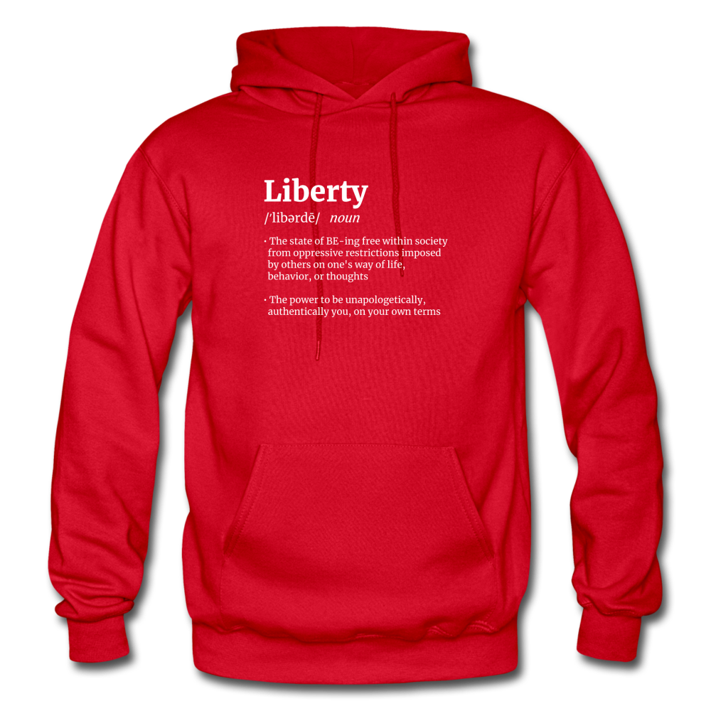Liberty Defined White Print Gildan Heavy Blend Adult Hoodie - red