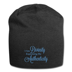 I Am Divinity Jersey Beanie - charcoal gray