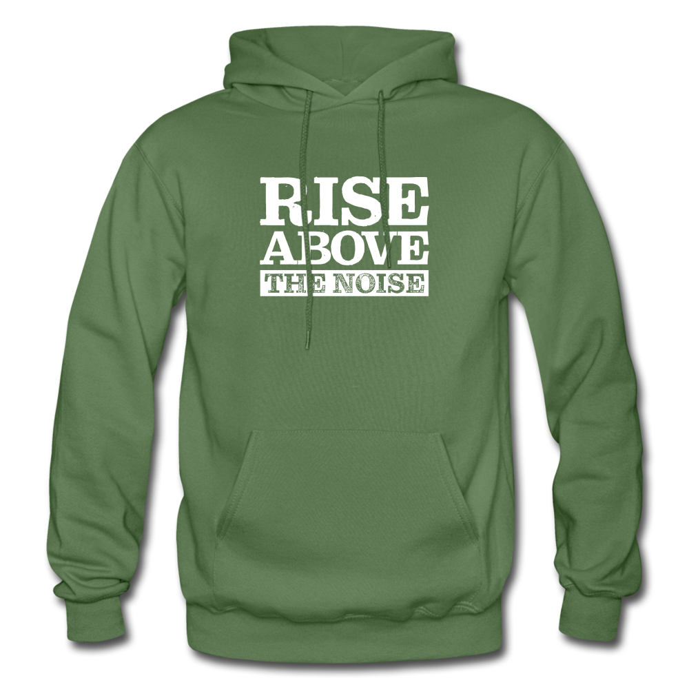Rise Above The Noise Gildan Heavy Blend Men's Hoodie - military green