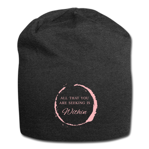 All That You Are Seeking Is Within Jersey Beanie - charcoal gray