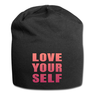 Open image in slideshow, Love Your Self Jersey Beanie - black