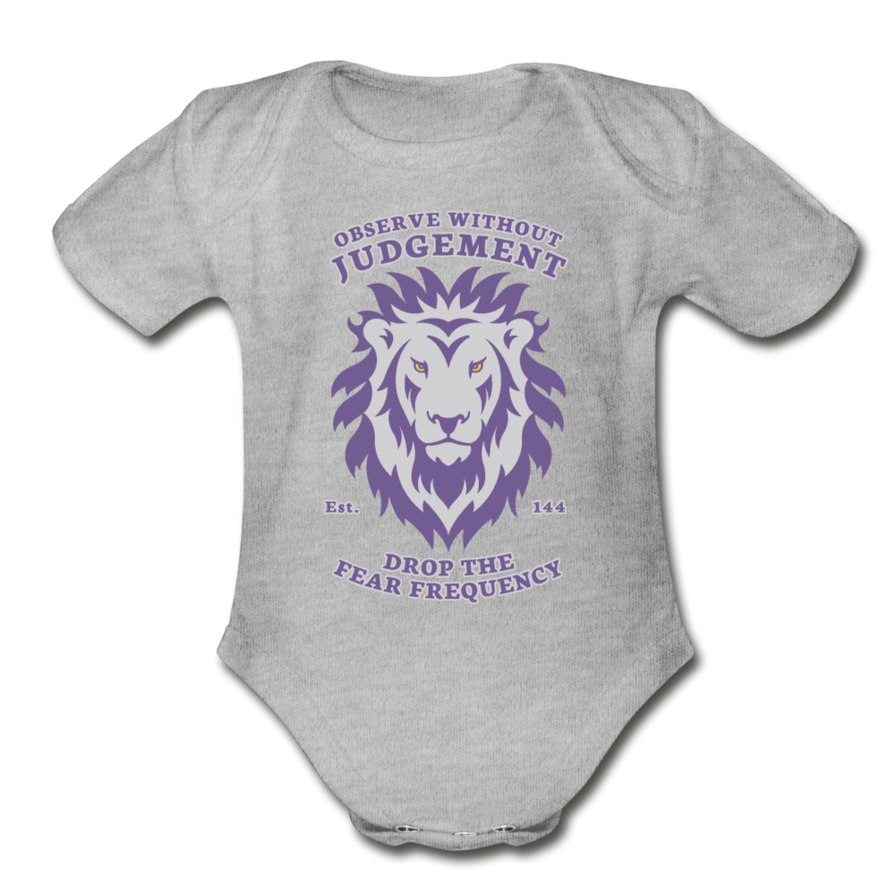 Observe Without Judgment Organic Short Sleeve Baby Bodysuit - heather gray