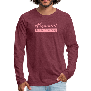 Alignment Is The New Sexy Men's Premium Long Sleeve T-Shirt - heather burgundy
