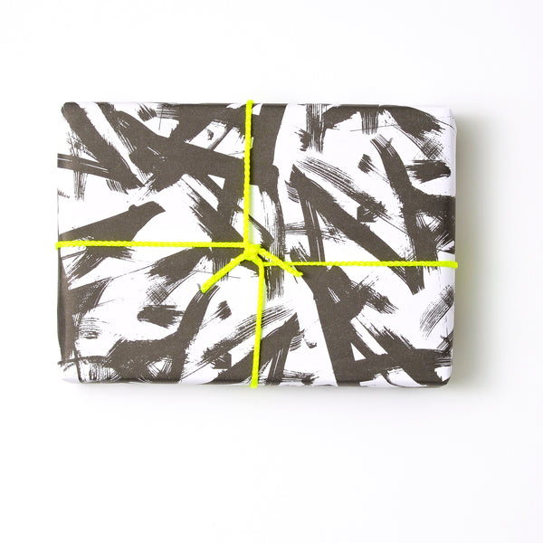 Black Brush Stroke Gift Wrap