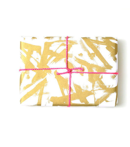 Gold Brush Stroke Gift Wrap