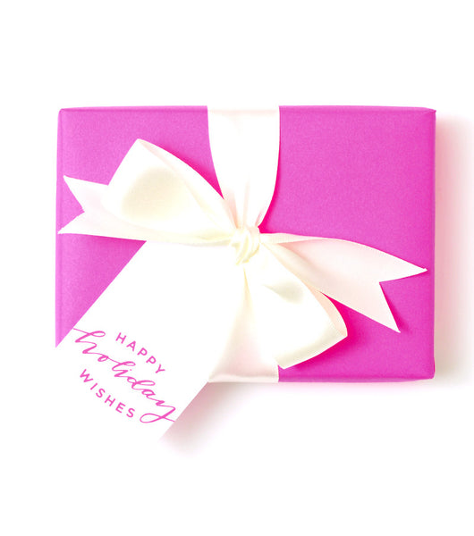 Happy Holiday Wishes Tag Pink