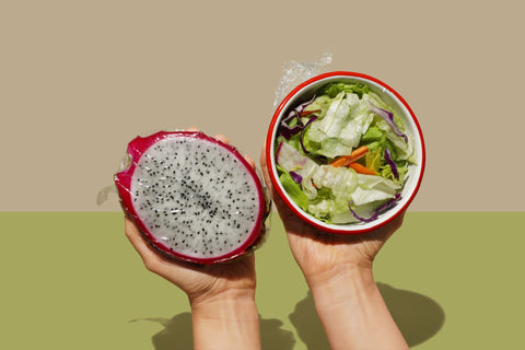 Dragon fruit and salad wrapped in compostable plastic food wrap