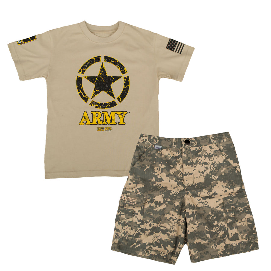 Youth Army 2pc Short Set