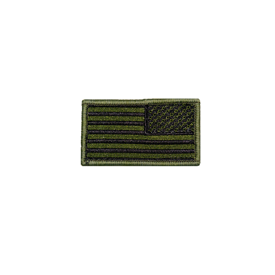 Reverse American Flag Patch OD Green and Black